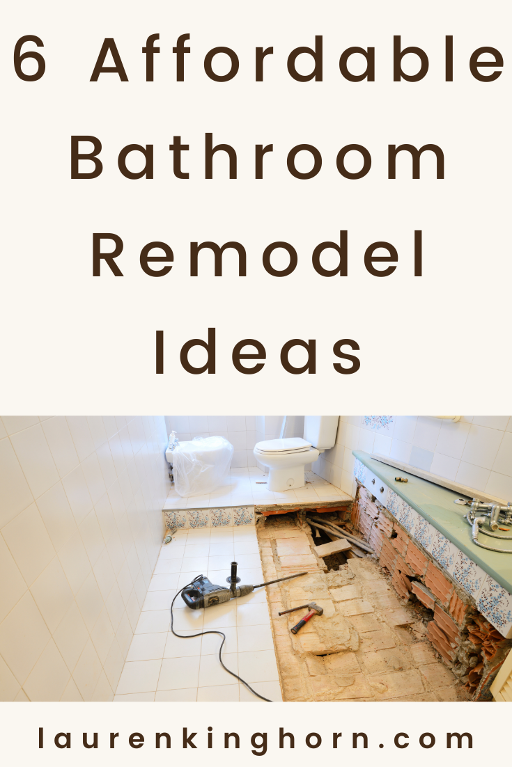 Bathrooms and kitchens often sell a home. Here are 6 affordable bathroom remodel ideas that could bring down costs and increase the market value of your home.  #affordablebathroomremodelideas