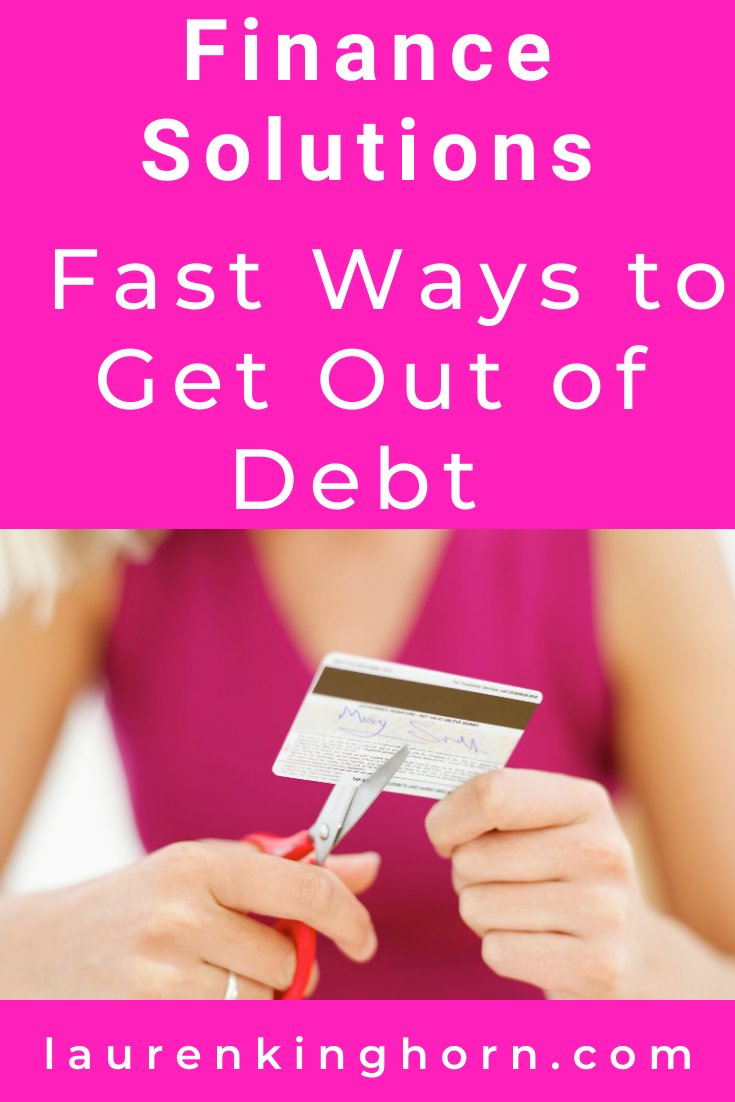 Being in debt or short of cash before the holidays SUCKS. Especially if you have children you'd love to spoil.  Before you go out and sell your organs or your Mother-in-law, try these fast ways to get out of debt.  #FinanceSolutions #FastWaystoGetOutofDebt #DebtConsolidation #CreditCardDebt
